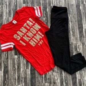 Victoria's Secret Pink Holiday Tee & Leggings